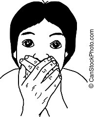illustration vector hand draw doodles of man holding his hand close to mouth.