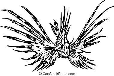 illustration vector hand draw doodles of marine aquarium ...