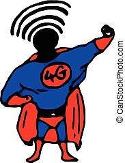 illustration vector hand draw doodles of superhero with 4G on his chest and wifi signal on his head.