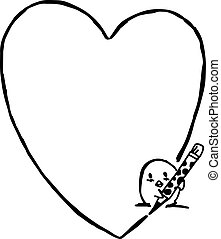illustration vector hand drawn doodle of baby chick write heart shape with pencil.