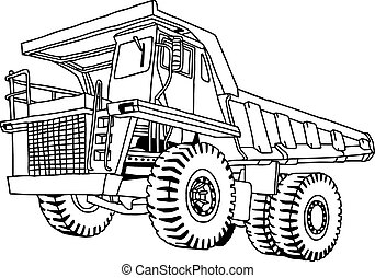 illustration vector hand drawn doodle of dump truck isolated on white background