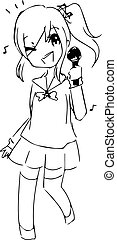 illustration vector hand drawn doodle of teenage girl singing with microphone in her hand