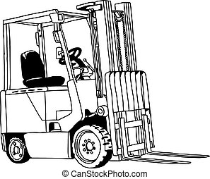 illustration vector hand drawn doodle of Forklift truck...