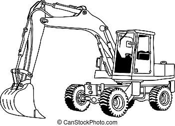 illustration vector hand drawn doodle of hydraulic shovel isolated on white background