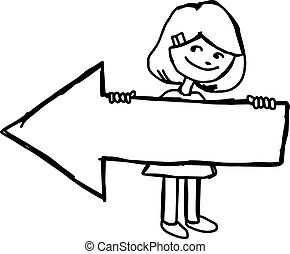 illustration vector hand drawn doodle of smiling girl holding blank arrow to the left.