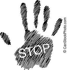 hand drawn doodles of Hand raised with the word STOP