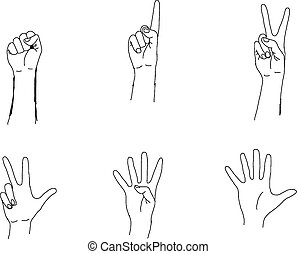 doodles of hands making the numbers 0-5
