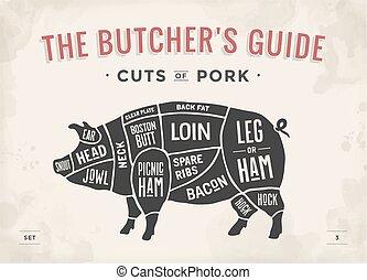 illustration., -, vector, hand-drawn., knippen, diagram, ouderwetse , plan, typografisch, gids, pork., set., poster, vlees, slager