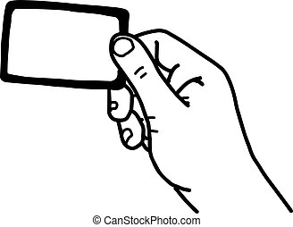 illustration vector hand drawn sketch of hand holding blank card isolated on white background.