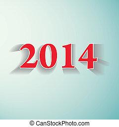 illustration., vector, jaar, nieuw, 2014., vrolijke