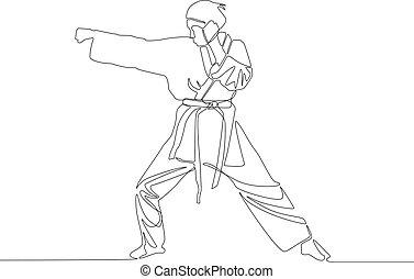 illustration., vector, marcas, niña, punch., dibujo, ...