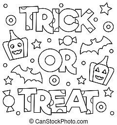 illustration., vector, o, page., colorido, treat., truco