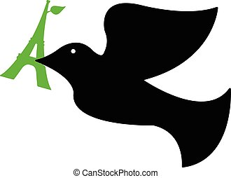 illustration vector of dove of peace with green eiffel tower in its beak.