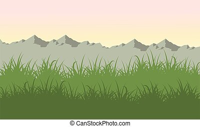 Illustration vector of mountain landscape at spring
