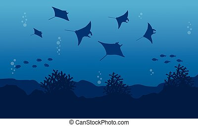 Illustration vector of stingray on ocean landscape