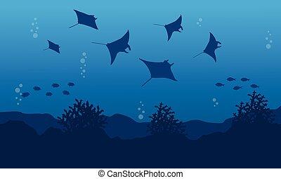Illustration vector of stingray on ocean landscape