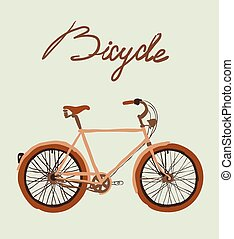 illustration., vector, ouderwetse , bicycle.