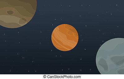 Illustration vector outer space landscape