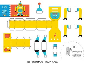 illustration., vector, papel, corte, robot, diy, pegamento, ...