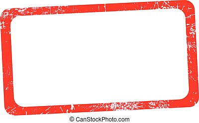 illustration vector red rectangular grunge rubber texture stamp, horizontal frame.