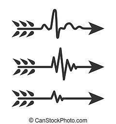 illustration., vector, símbolo., latido del corazón, conjunto, flechas