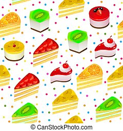 Illustration vector seamless background with fruit cakes and sweets.