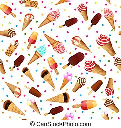 Illustration vector seamless background with ice cream and sweets.