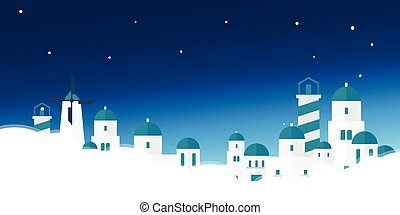 illustration., vector, skyline., acropolis., viaje, grecia, cartel