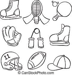 Illustration vector sport equipment various doodles