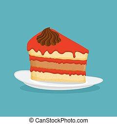 illustration., vector, taart, stuk