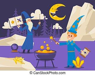 illustration., vector, varita, escena, mágico, estudiante,...