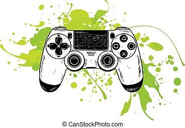 illustration., vector., vector, gamepad, palanca de mando, controlador del partido, console.
