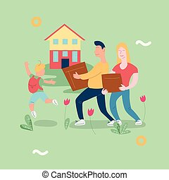 Illustration vector with family moving new house