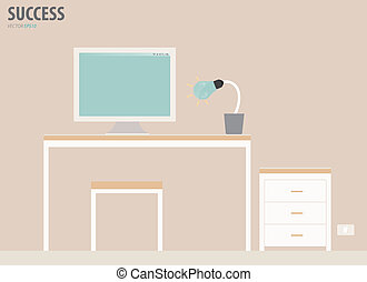 illustration., vector, workstation.
