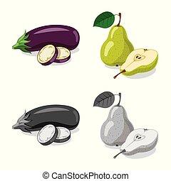 illustration., vegetariano, frutta, vettore, disegno, collezione, verdura, logo., casato