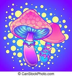 illustration., vektor, bunte, hallucination., 60s, hippie, psychedelisch, art., magisches, beschwingt, mushrooms., dekoration, tattoo., stil, boho, ethnisch