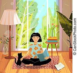 illustration., vektor, design, apartement, m�dchen, cozy, modern, katz, hand, gezeichnet, home., wohnung, lesend buch