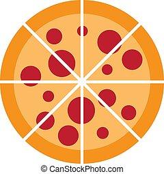 illustration, vektor, design, logo, pizza, ikon