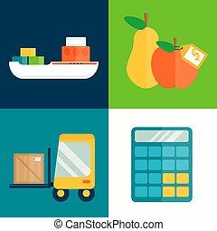 illustration., vektor, eksporter, frugter, import, transport