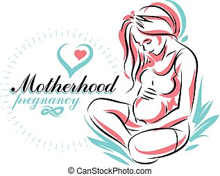 illustration., vektor, elegant, koerper, silhouette, sketchy, popularization, schwanger, mutterschaft, frau, schwangerschaft