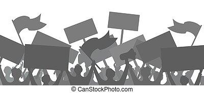 illustration., vektor, emberek., háttér., árnykép, tiltakozik, tolong