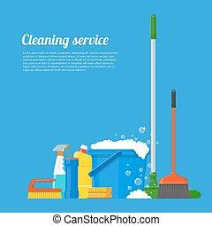 illustration., vektor, firma, werkzeuge, putzen, service, design, haus, stil, wohnung, begriff, plakat
