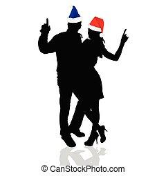 illustration, vektor, flicka, hatt, jul, man