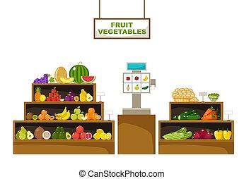illustration, vektor, fruits., supermarket., disk