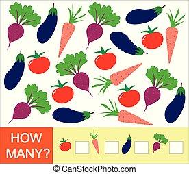 illustration., vektor, gemuese, zählen, mathematik, aubergine, spiel, children., wie, lernen, zahlen, (tomato, carrot)., rübe, viele