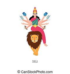 illustration, vektor, isolated., karakter, løve, gudinde, ...