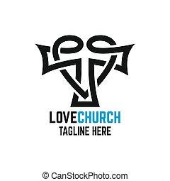illustration., vektor, kyrka, heart., nymodig