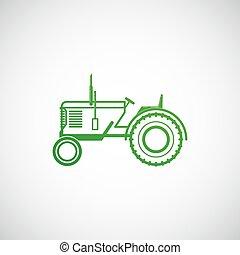 illustration, vektor, lantgård, tractor., begrepp