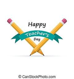 illustration., vektor, pencils., lärare, baner, dag, lycklig