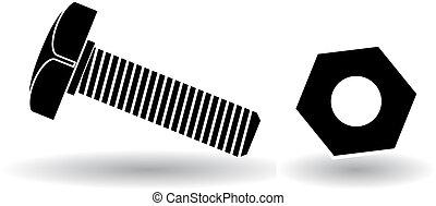 illustration, vektor, skruva